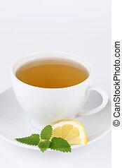 Lemon balm tea with lemon