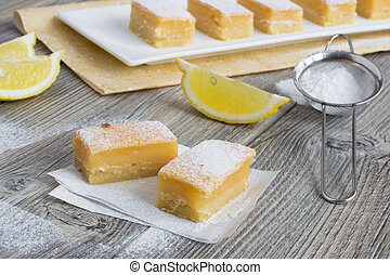 Lemon bars - traditional American sweets - Tasty fresh lemon...