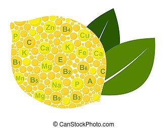 Lemon Benefits. Vitamins and minerals of lemon. Infographics nutrients in lemon fruit. Vector illustration lemon, vitamins, health food, nutrients
