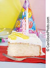 lemon birthday cake with fork