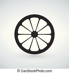 lemon black icon. Vector illustration isolated on white background.