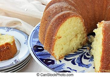 Lemon Bundt Cake - Lemon bundt cake with shallow depth of...