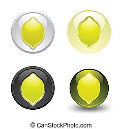 Lemon button, set, web 2.0 icons