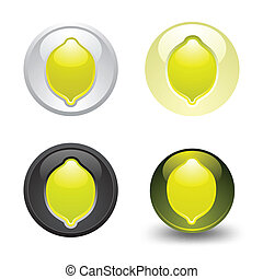 Lemon button, set, web 2.0 icons