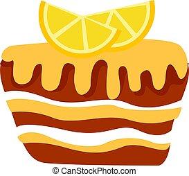 Lemon cake, illustration, vector on white background.