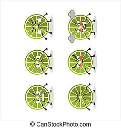 Lemon cartoon character with various angry expressions