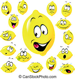 lemon cartoon with many facial expressions