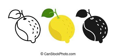 Lemon cartoon set icon citrus hawaii fresh vector