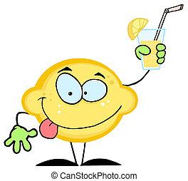 Cartoon Lemon Holding A Glass With Lemonade