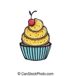 Lemon cupcake with cherry, vector