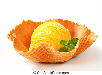 Lemon custard ice cream in a wafer bowl