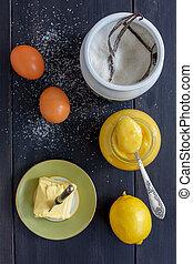 Lemon custard. Ingredients for cooking. - Jar with lemon...