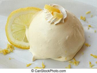 Lemon delight ( delizia al limone ) sponge cake filled and...