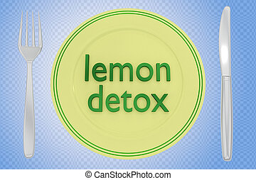 Lemon Detox concept - 3D illustration of lemon detox title ...