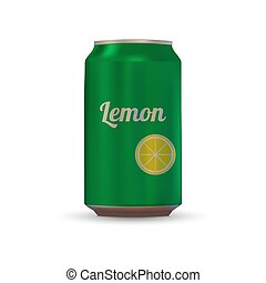 Drink aluminium can - Lemon Drink aluminium can isolated on...