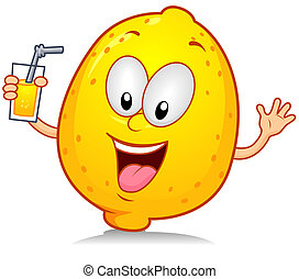 Lemon Drink - Illustration of a Lemon Character Holding a...