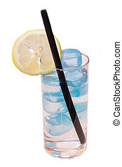Lemon drink with blue ice on a white background