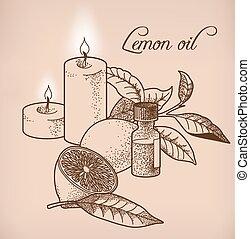 Lemon essential oil and candles - Illustration of lemon ...