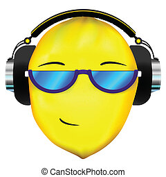 Lemon face in headphones - Vector lemon icon in headphones...