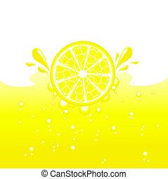 Lemon falling into the lemonade, vector illustration