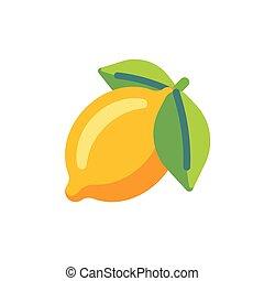 Lemon flat icon. Slot machine symbol