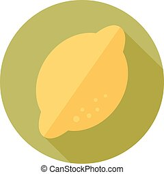 Lemon flat icon with long shadow