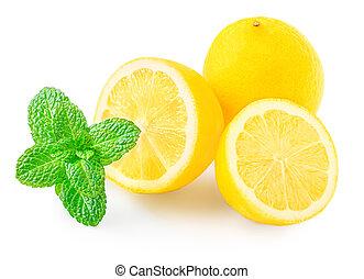 Lemon fruit and mint herb isolated on white background.