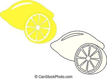 Lemon, fruit. Coloring page, game for kids. Vector illustration.