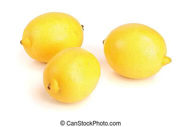 Lemon fruit isolated on white background close-up