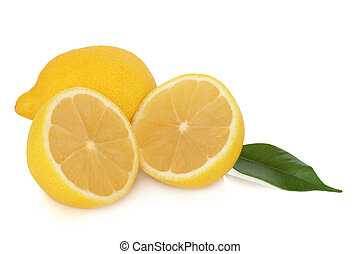 Lemon fruit whole and in half with leaves, isolated over white background with reflection.
