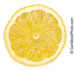 Lemon Fruit Slice Isolated On White Background
