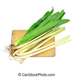 Lemon grass and Coriander on cutting board isolated on white