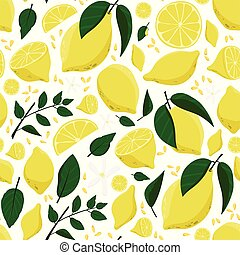 Lemon, green leaves and flowers background