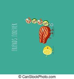lemon grill salmon shrimp friends forever. Vector illustration.