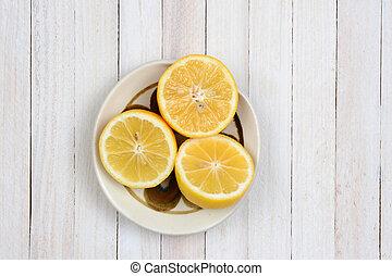 Lemon Halves in Bowl