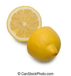 Lemon halves isolated on white background