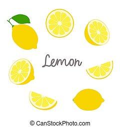 Lemon hand drawn icon set isolated on white background