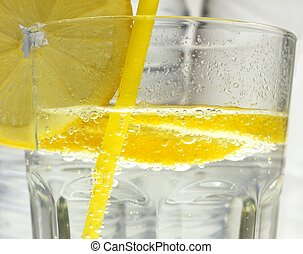 lemon in the glass of water
