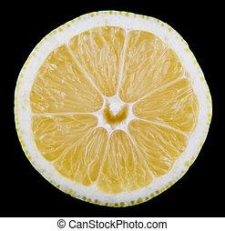 lemon isolated on black background