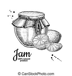 Lemon jam glass jar vector drawing. Fruit Jelly and marmalade. Hand drawn food illustration. Sketch style vintage objects for label, icon, packaging design.