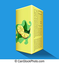 Lemon juice box on a colored background - Vector