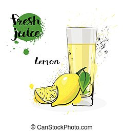 Lemon Juice Fresh Hand Drawn Watercolor Fruits And Glass On White Background