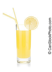 Lemon juice glass with two drinking straw - Lemon juice...