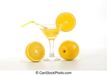 lemon juice in a glass with a straw to drink