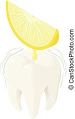 Lemon juice on tooth icon, isometric style - Lemon juice on ...