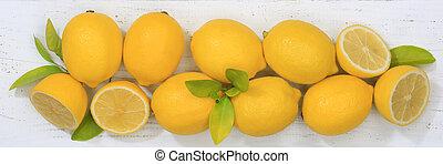 Lemon lemons fruits banner top view