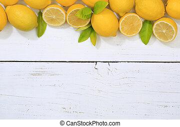 Lemon lemons fruits copyspace top view