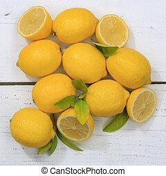 Lemon lemons fruits square top view