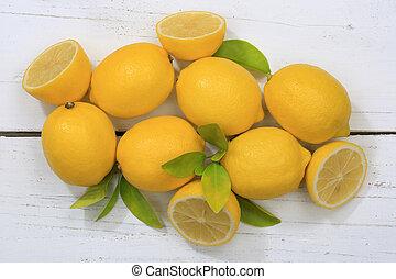 Lemon lemons fruits top view