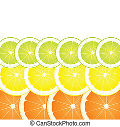 Lemon, lime and orange slices vector background